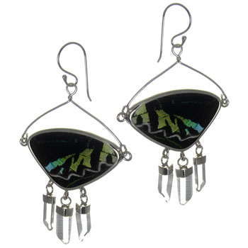 Butterfly Wing Silver Earrings #7