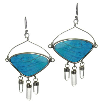 Butterfly Wing Silver Earrings #8