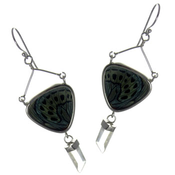 Butterfly Wing Silver Earrings #9