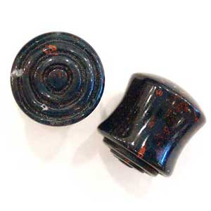 Indian Bloodstone Plugs with Carved Spiral Inlays