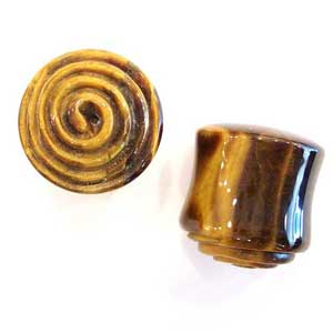 Yellow Tiger Eye Plugs with Carved Spiral Inlays