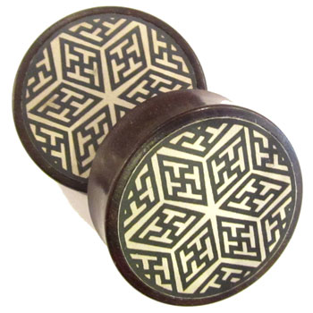Catalox Plugs with White Geometric Star Metal Inlays