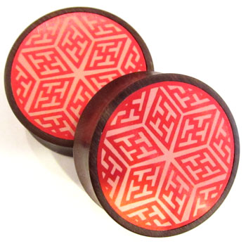 Catalox Plugs with Red Geometric Star Metal Inlays
