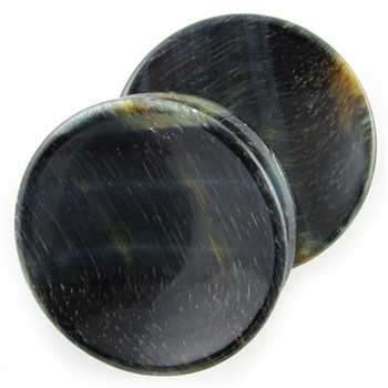 Blue Tiger Eye Concave Plugs