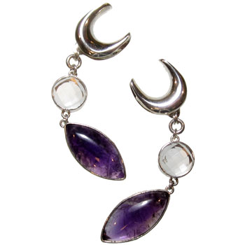 Silver Quartz and Amethyst Saddle Spreaders