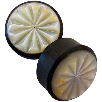 Ebony Plugs with Mother of Pearl Burst Inlays