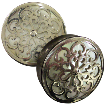 Ebony with Silver and Shell Victorian Plugs