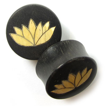 Ebony Plugs with Ash Lotus Inlay