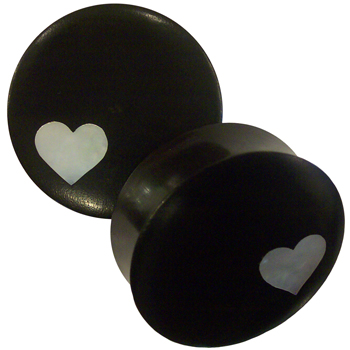 Ebony Plugs with Mother of Pearl Heart Inlays