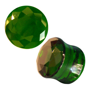 Faceted Green Obsidian Plugs