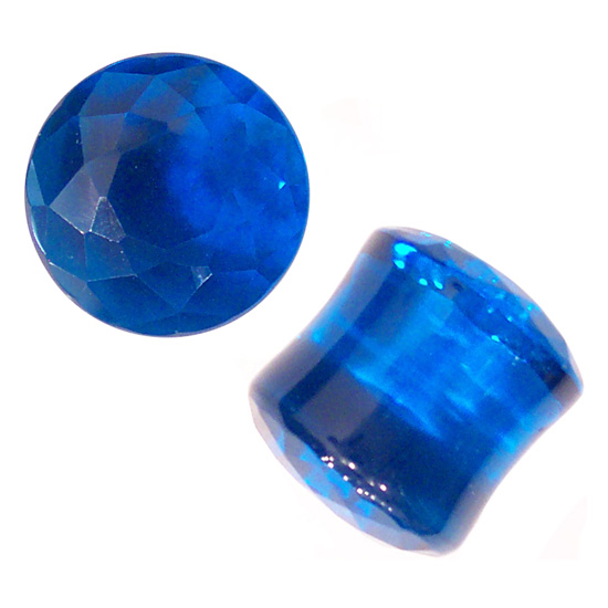 Faceted Blue Obsidian Plugs