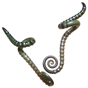 Glass Carved Drop Spiral Curl