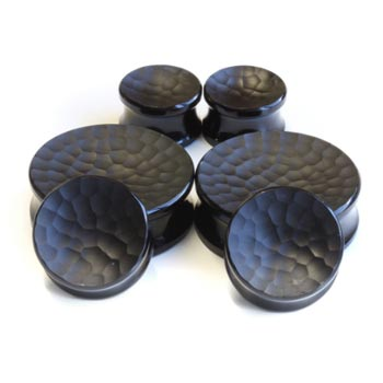 Glass Concave Martele Plugs