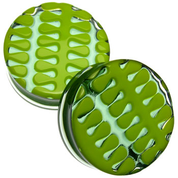 Glass Retro Tread Plugs - Green