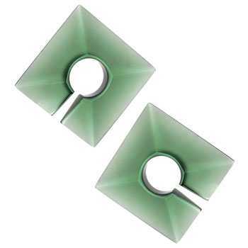 Glass Square Weights - Emerald