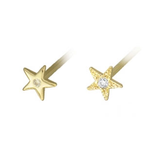 Gold Medium Star with Gem Nostril Screw
