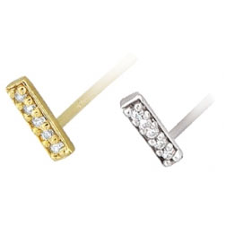Gold Micro Pave Gem Strip Nostril Screw