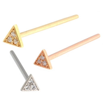 Gold Micro Pave Triangle Nostril Screw