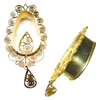 Gold Ornate Teardrop Eyelets