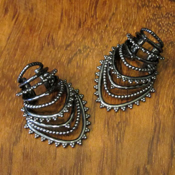 Gunmetal Beaded Warrior Ear Cuff