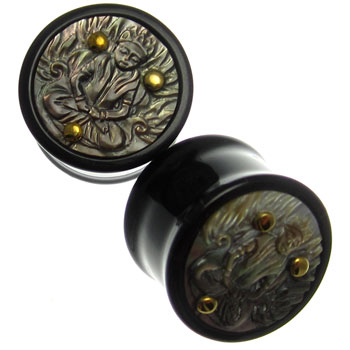 Black Horn Plugs with Black Shell Buddha Inlay