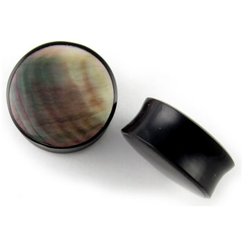 Black Horn Plugs with Black Shell Inlays