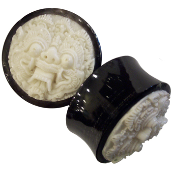 Bone and Black Horn Barong Plugs