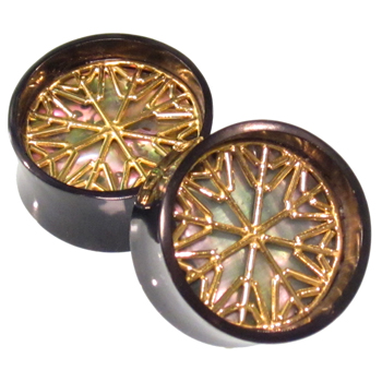 Black Horn Plugs with Abalone and Brass Snowflake Inlays