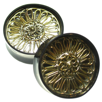 Black Horn Plugs with Brass and Mirror Inlays