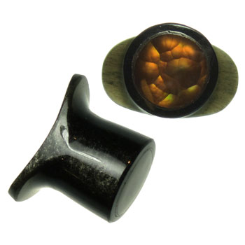 Black Horn Labret Plug with Fire Opal Inlay