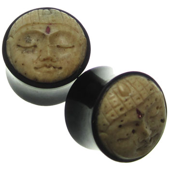 Black Horn Plugs with Walrus Jawbone Buddha Inlays