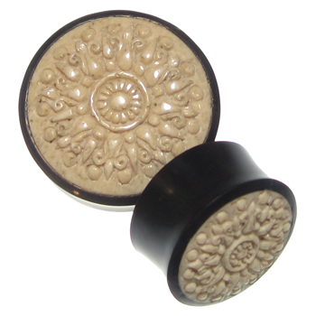 Black Horn Plugs with Walrus Jawbone Mandala Inlays