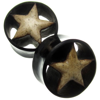 Black Horn Eyelets with Walrus Jawbone Star Inlays