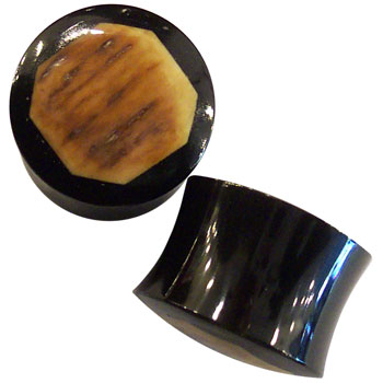 Black Horn Plugs with Octogon Mastodon Inlays