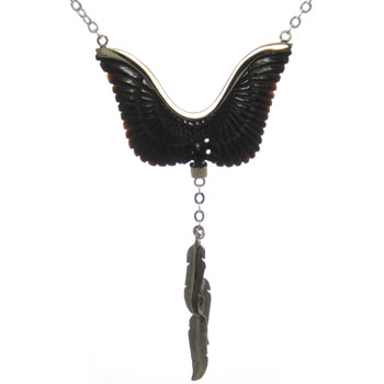 Black Horn and Silver Wings of Glory Necklace