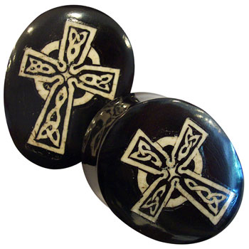 Black Horn Teardrop Plugs with Walrus Jawbone Celtic Cross Inlay