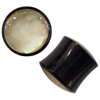 Black Horn Plugs with Mother of Pearl Inlays