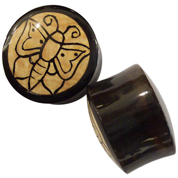 Black Horn Plugs with Walrus Tusk Butterfly Inlays