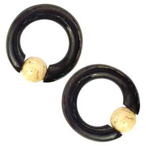 Black Horn Captives with Walrus Jawbone Beads