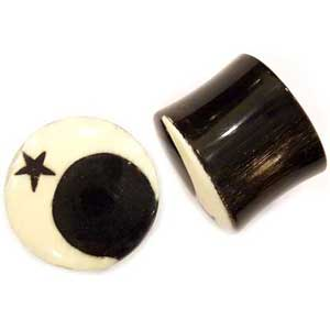 Black Horn Plugs with Mastodon Tusk Crescent Moon Inlays