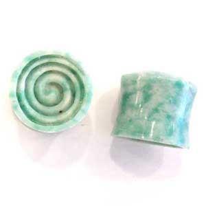 China Green Jade with Carved Concave Spiral Inlays
