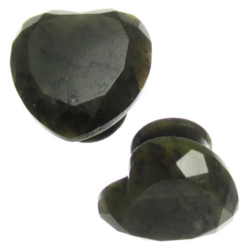 Green Nephrite Jade Faceted Heart Plugs