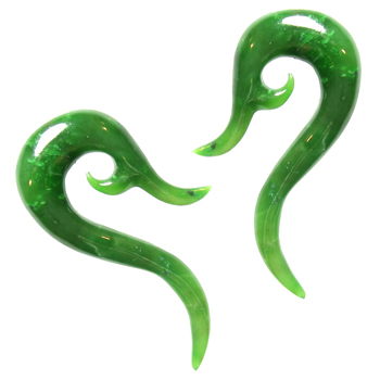 Green Nephrite Jade Whale Tail