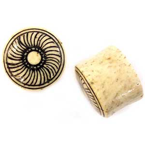 Walrus Jawbone Plugs with Horn Radial Inlays