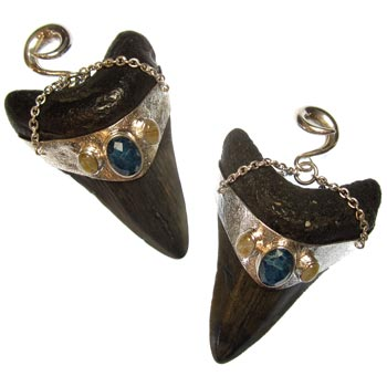 Silver Large Megalodon Teeth with Rutilated Quartz and Apatite I