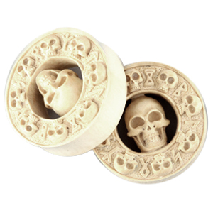 Mastodon Tusk Skull and Rune Plugs