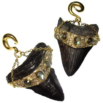 Brass Megalodon Teeth with Faceted Labradorite
