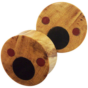 Olivewood Plugs with Ebony and Bloodwood Inlays