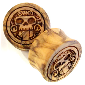 Olivewood Plugs with Aztec Skull Carving