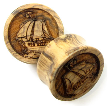 Olivewood Plugs with Pirate Ship Carving